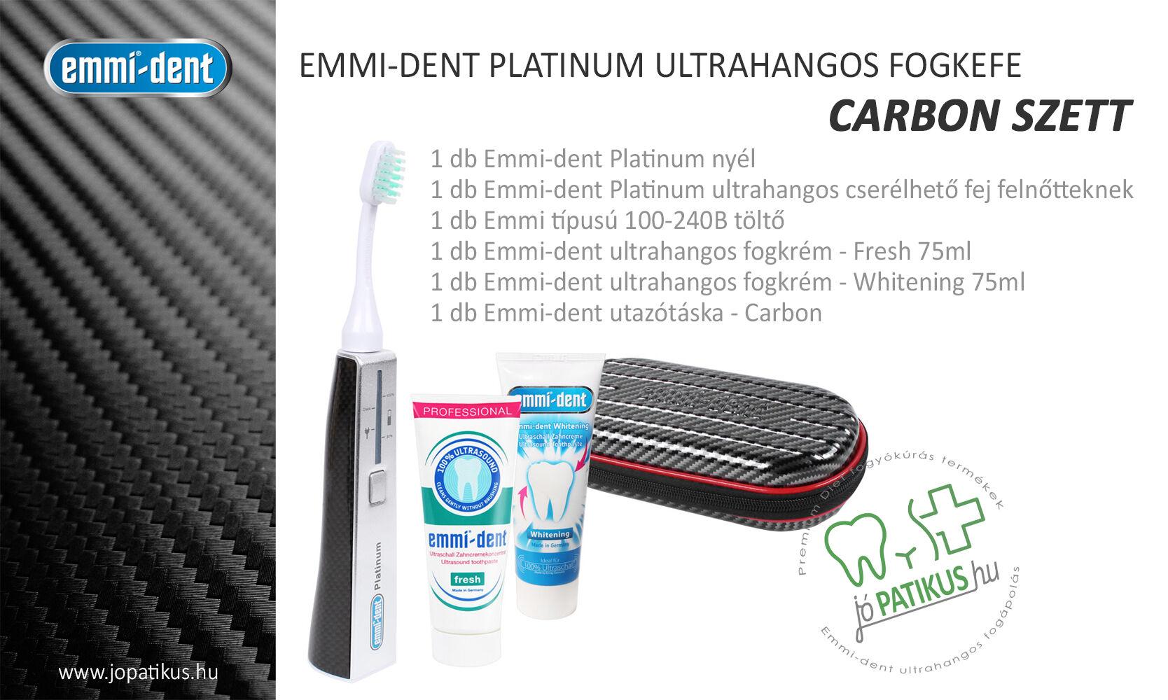 Emmi-dent Platinum ultrahangos fogkefe carbon szett - jopatikus