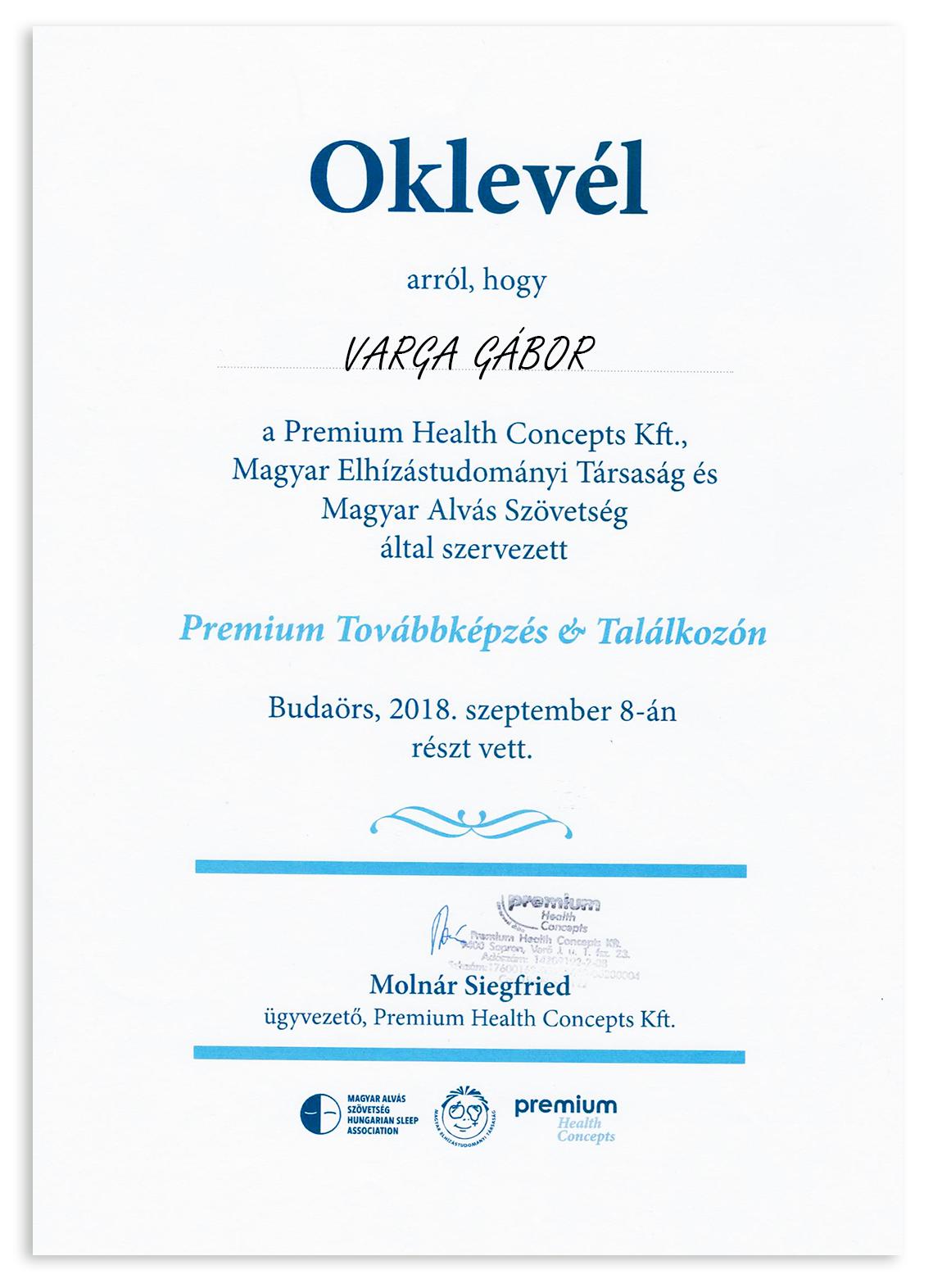 Premium Diet konferencia - Varga Gábor