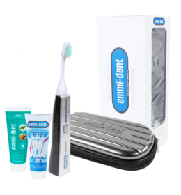 Emmi-dent Platinum ultrahangos fogkefe carbon szett - 2 tubus fogkrém + utazótáska