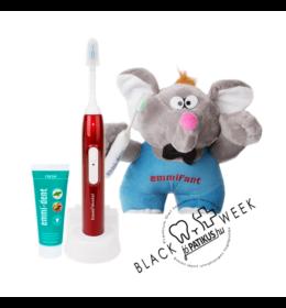 Emmi-dent Metallic ultrahangos fogkefe piros + Emmi-dent fogkrém + 30cm plüss Emmifant - Black Week