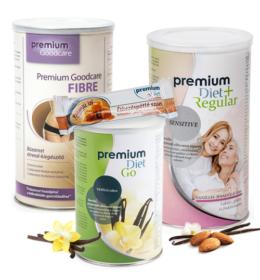 Premium Diet akciós induló csomag 2 - Go, + Sensitive, Fibre, brownie szelet